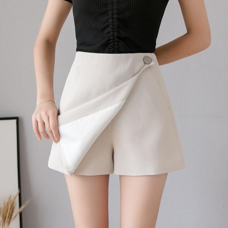 Hiawatha, pantalones cortos a la moda para chicas, faldas de estilo coreano, pantalones cortos casuales de gasa de verano para mujeres, pantalones cortos de pierna ancha de cintura alta D4180