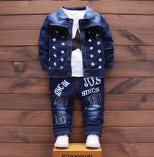 Ensemble de vêtements pour bébés garçons   Ensemble de vêtements à la mode pour enfants, combinaison sport pour bébé, ensemble de 3 pièces T-shirt + manteau et pantalons en denim pour enfants, nouvelle collection 2018