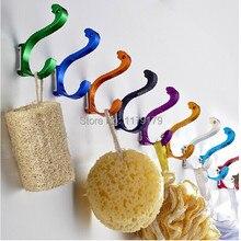 creative dolphin 10 colourfull aluminum hook  cloths hook ,   cap hook 10 colors chicken  bathroom wall hooks