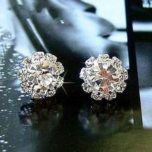 New Fashion Sparkling Earrings Sun Flower Zircon Imitation Jewelry Affordable Jewelry Female Wedding Gift