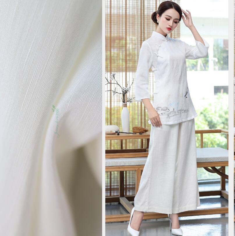 Pure white silk blended doupion silk Hanfu cardigan 70% component light luxury leisure fabric  328