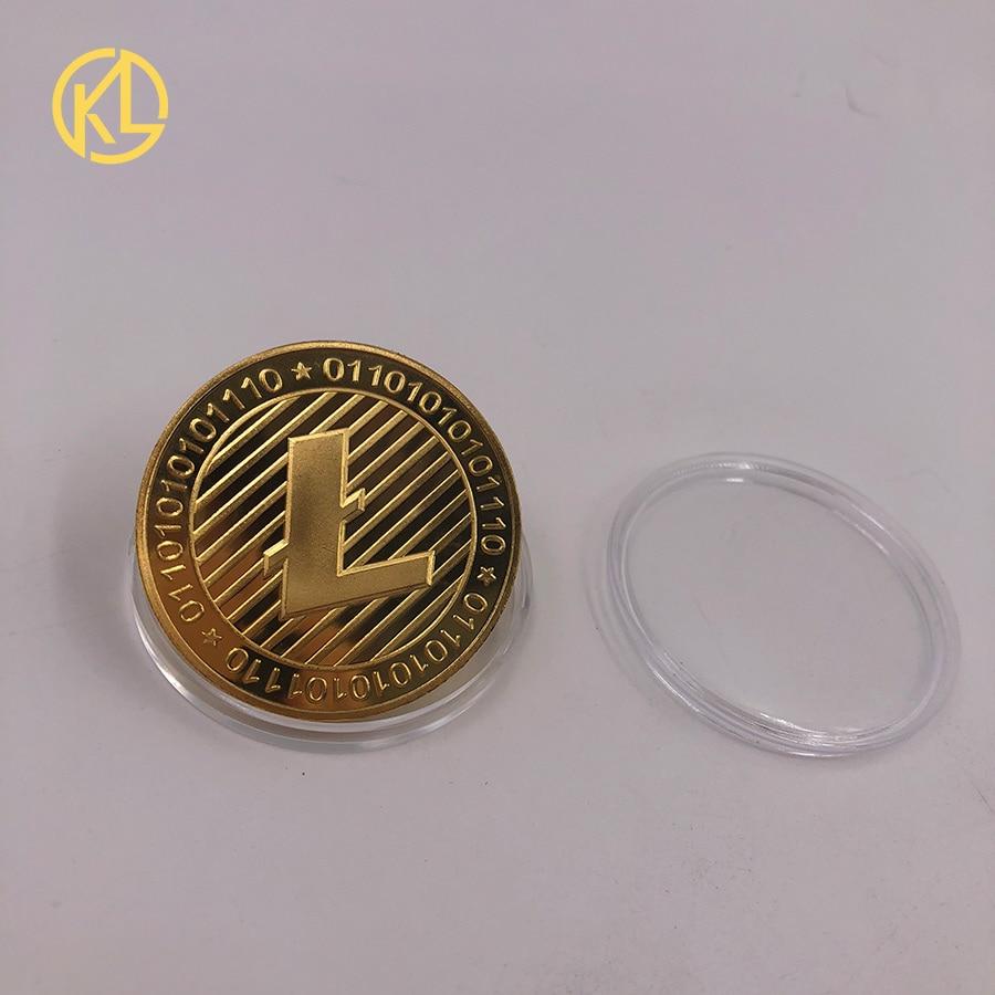 Moneda de Bitcoin chapada en oro 99.99% BTC Litecoin Ripple Ethereum Dash Monero EOS moneda conmemorativa de Metal de criptomoneda