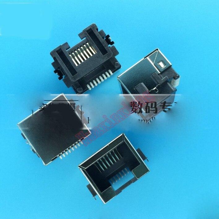 100 יחחבילה SMT RJ45 8P8C נקבה שקע/שקע מחבר צלחת טביעת פלדה מגן רשת מודולרי עבור מחברת