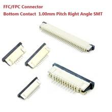 Connecteur FFC / FPC 100 pièces   1.0mm 4 broches 5 6 7 8 10 12 14 16 18 20 22 24 26 18 30 P Contact du bas à angle droit, SMD / SMT ZIF