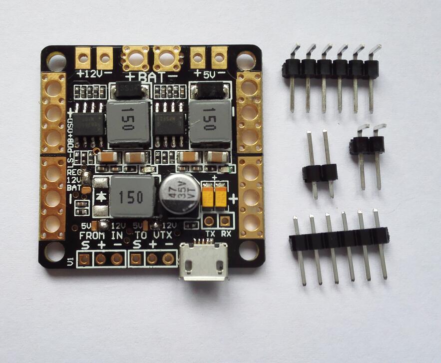 5 V 12 V dupla BEC / filtro LC PDB PCB w / Built in FPV OSD para Flip32 Naze32 CC3D para RC Quadcopter Multicopter
