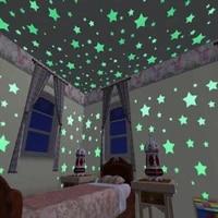 Autocollants lumineux dans la nuit avec etoiles 3D  sparadrap muraux fluorescents en Pvc pour la maison  decoration murale de plafond de chambre denfants  50pcs