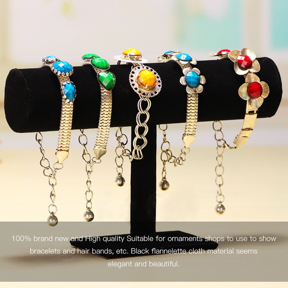 New Velvet T Bar Rack Watch Headband Holder Display Hair Bands Bracelet Bangle Necklace Jewelry Showing Organizer Necklace Stand fashion jewelry display black velvet leather t bar jewelry rack organizer hard stand holder for bracelet chain necklace watch
