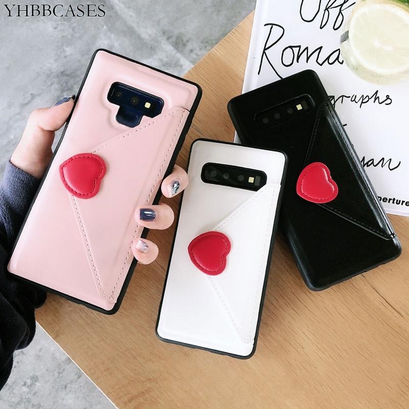 Kobiety mody skórzana telefon pokrywa dla Samsung Galaxy S10Plus S10 przypadkach Sexy czerwone serce miłość portfel posiadacz karty etui do Samsung uwaga 9