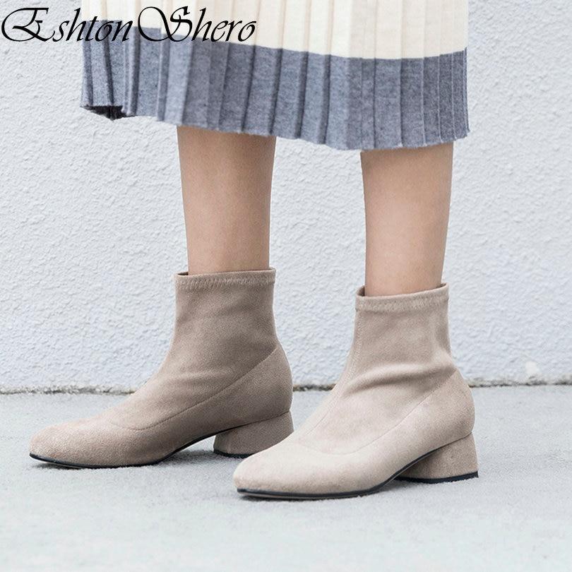 EshtonShero botas de tobillo para mujer Zapatos de tacón cuadrado de punta Baja Flock albaricoque moda mujer botas de motocicleta talla 34- 40