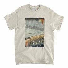تي شيرت Hiroshige-تي شيرت بتصميم مفاجئ فوق جسر شين وأتاكي للفن الياباني 2019 أحدث تي شيرت برقبة دائرية وضوء الشمس للرجال تي شيرت فارغ