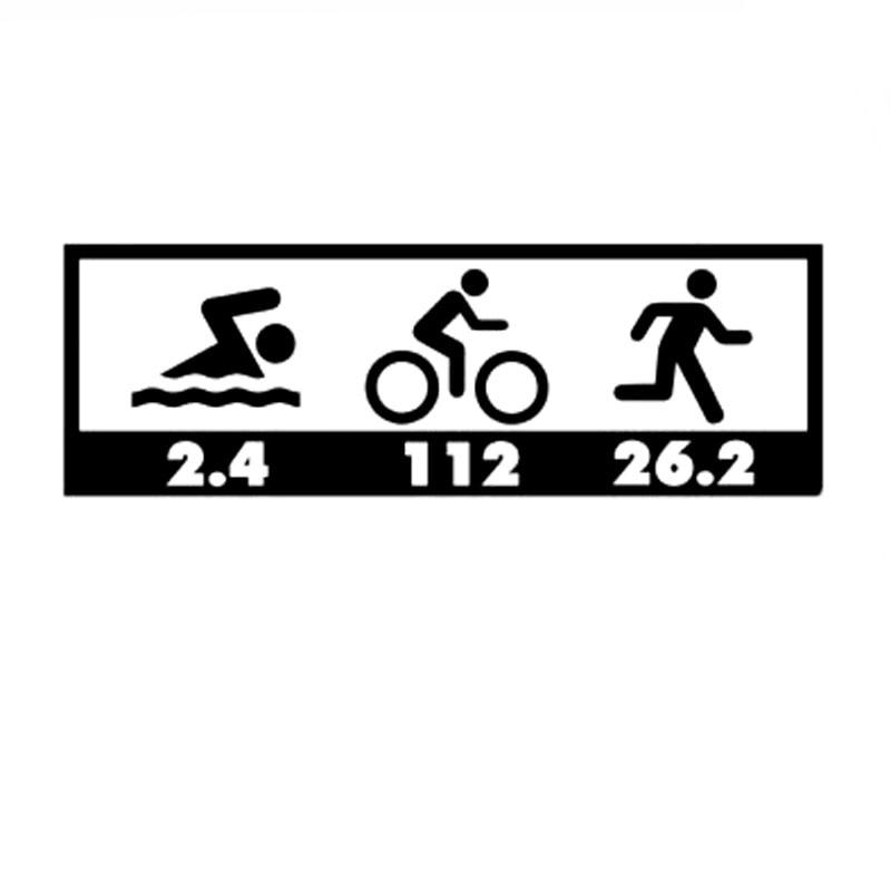 Calcomanía de Triatlón de 15,2 CM x 5CM para bicicleta de natación Run 26,2, pegatina de parachoques para coche, nuevo conjunto, pegatinas y calcomanías de coche Ironman, C8-0955 de plata negra