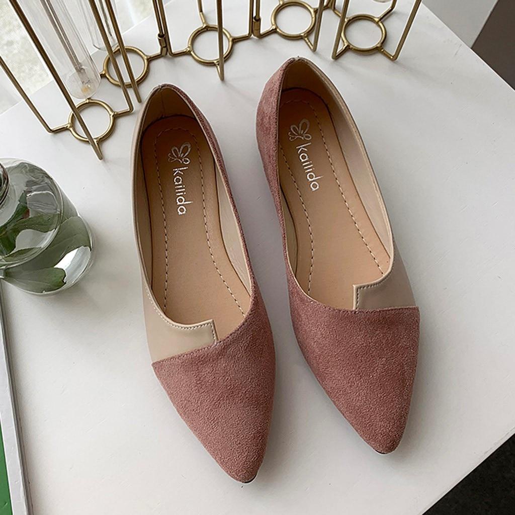 Women Sandals Summer Women Splice Color Flats Fashion Pointed Toe Ballerina Ballet Flat Slip On Shoes Women Summer Leisure Shoes