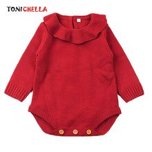 Baby Girls Bodysuits Long Sleeve Knitted Toddler Jumpsuits Winter Autumn Newborn Outwear Infant Soli