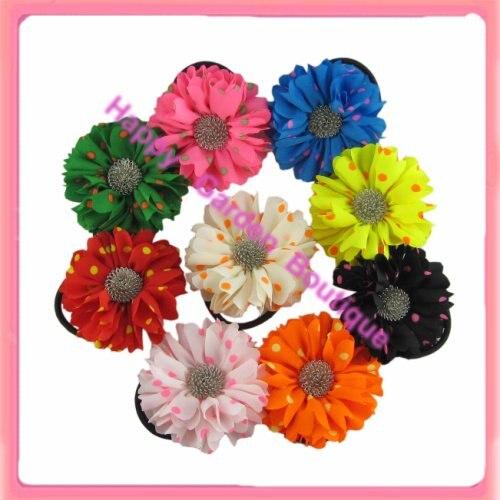 Hot sale !New 12pcs/lot   Fluorescents ploka dots silk flower hair holder