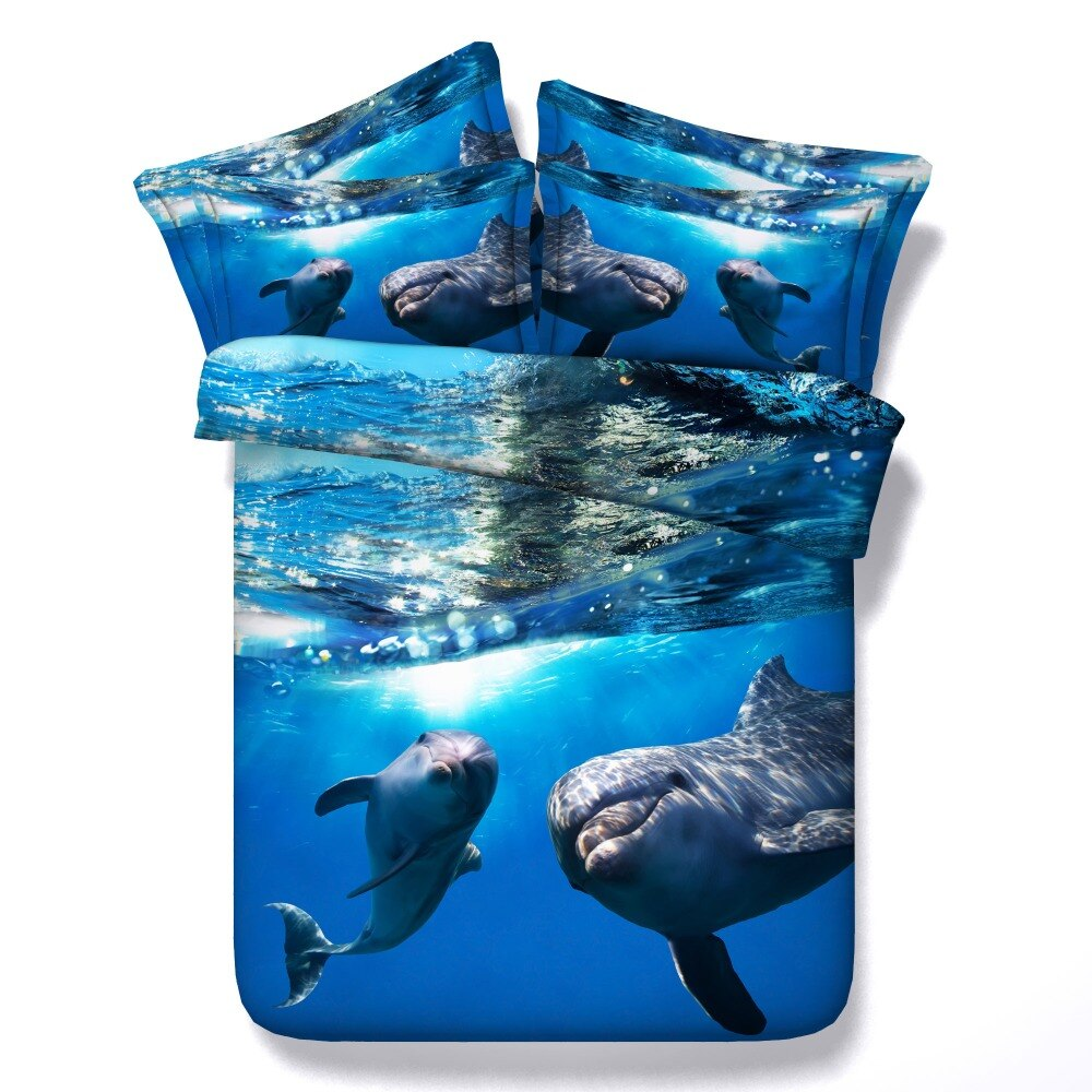 Colcha azul 3d pez delfín funda nórdica 3/4 Uds juegos de ropa de cama submarino doble reina tamaño king completo Niñas Ropa de cama para niños