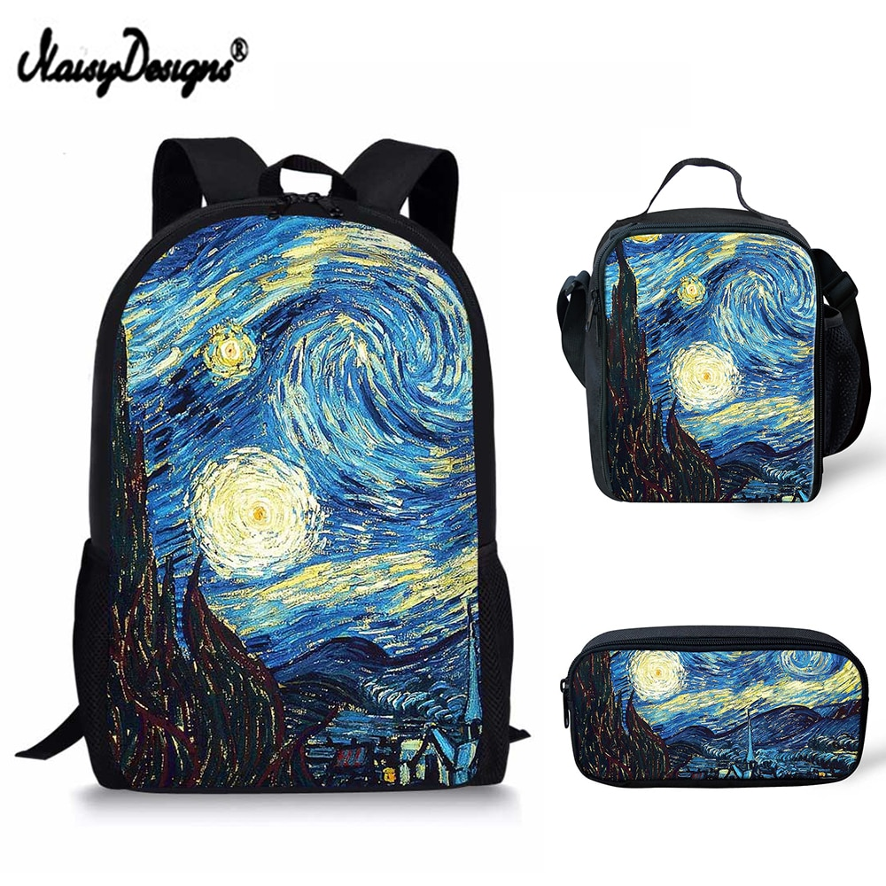 Комплект из 3 предметов, школьная сумка для мальчиков, детский рюкзак Van Gogh, знаменитый, с рисунком маслом, для подростков, женщин, Книжная сум...