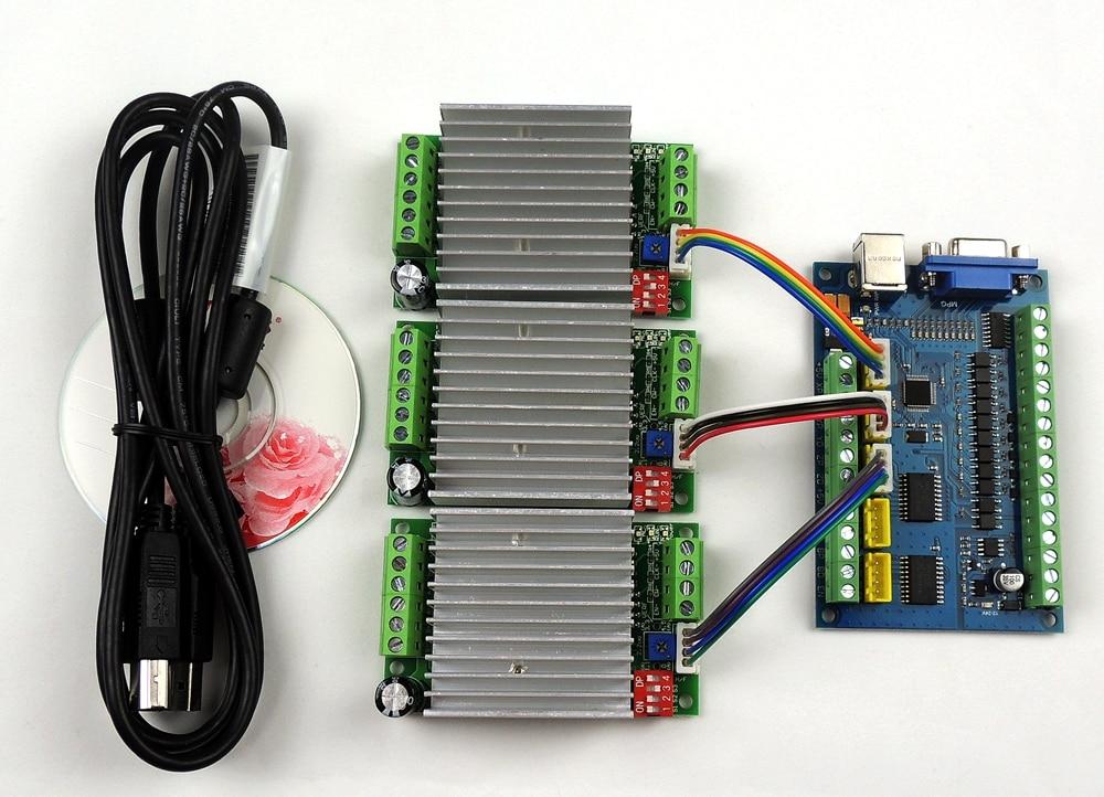 MACH3 USB CNC 5 محور 100KHz السلس السائر الحركة بطاقة التحكم اندلاع مجلس + 3 قطعة TB6600 1 محور 4.5A السائر المحركات مجلس سائق