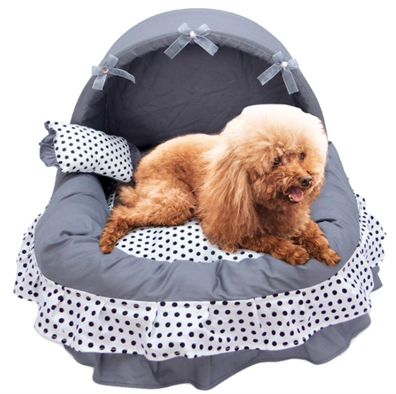 Cama de perro de encaje princesa Casa de perro cajón de gato jaula cesta Casa de cachorro sueño nido de mascota sofá de Caseta de perros nido de perro suave suministros para mascotas