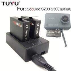 TUYU Para SOOCOO S200 S300 bateria carregador Dual USB carregador de bateria S200 S300 Esporte Câmera carregador de bateria Dupla