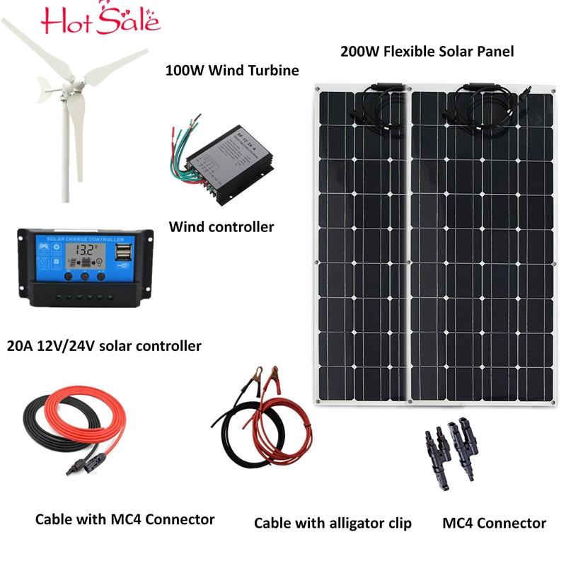 300 الهجين نظام: 100W الرياح التوربينات مولد + 2 قطعة 100w مرنة الشمسية لوحة + الرياح تحكم + 20A الشمسية تحكم + اكسسوارات