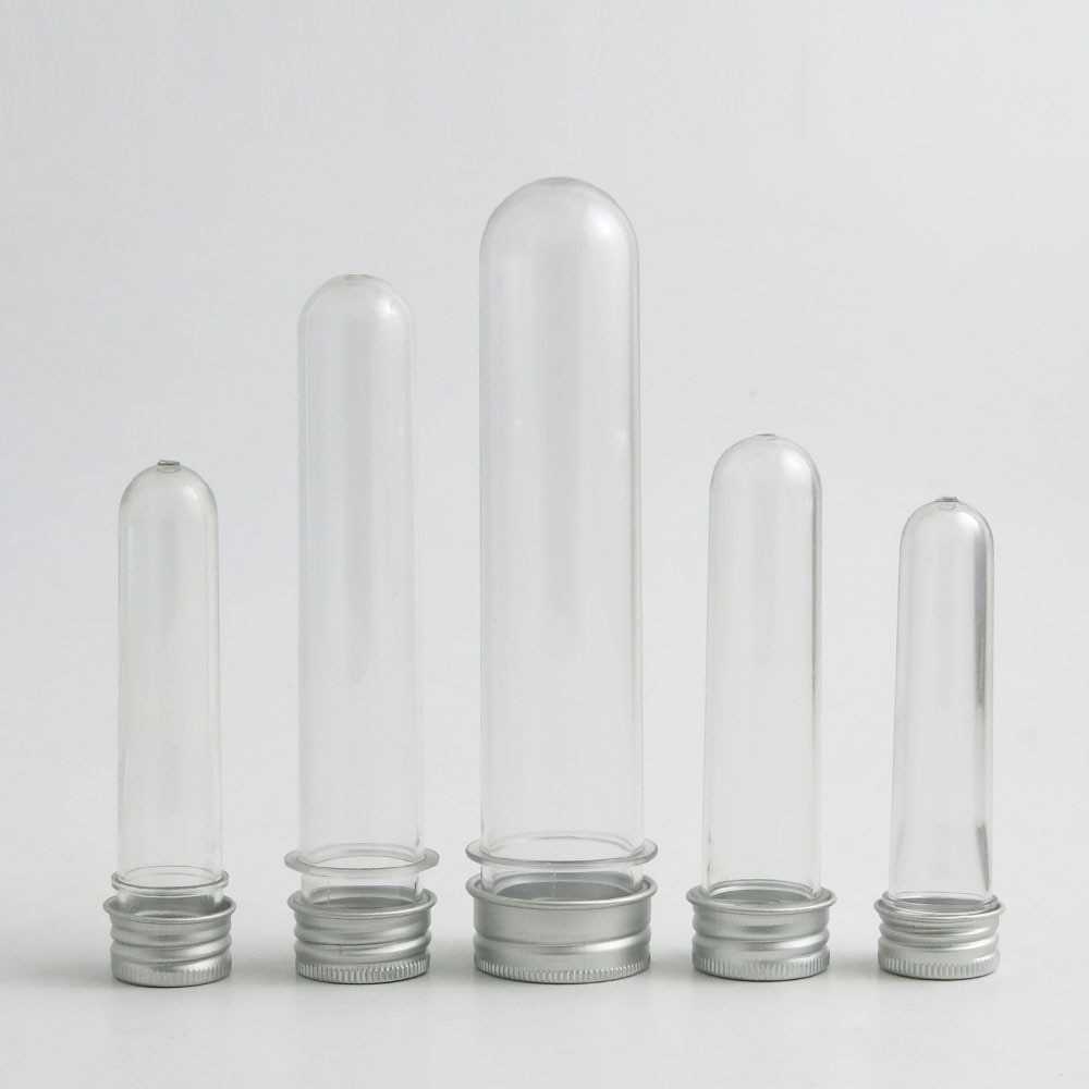 Nuevo 10ml 15ml 30ml 40ml 100 tubo de ensayo ml con tapa de aluminio cosmético plástico claro tubo Candy caso cosmético 1oz 24 Uds