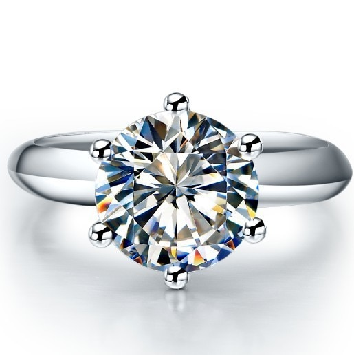Promo 2 Carat Real Moissanite Engagement Ring Pure 14K White Gold Promise Wedding Anniversary Day Jewelry