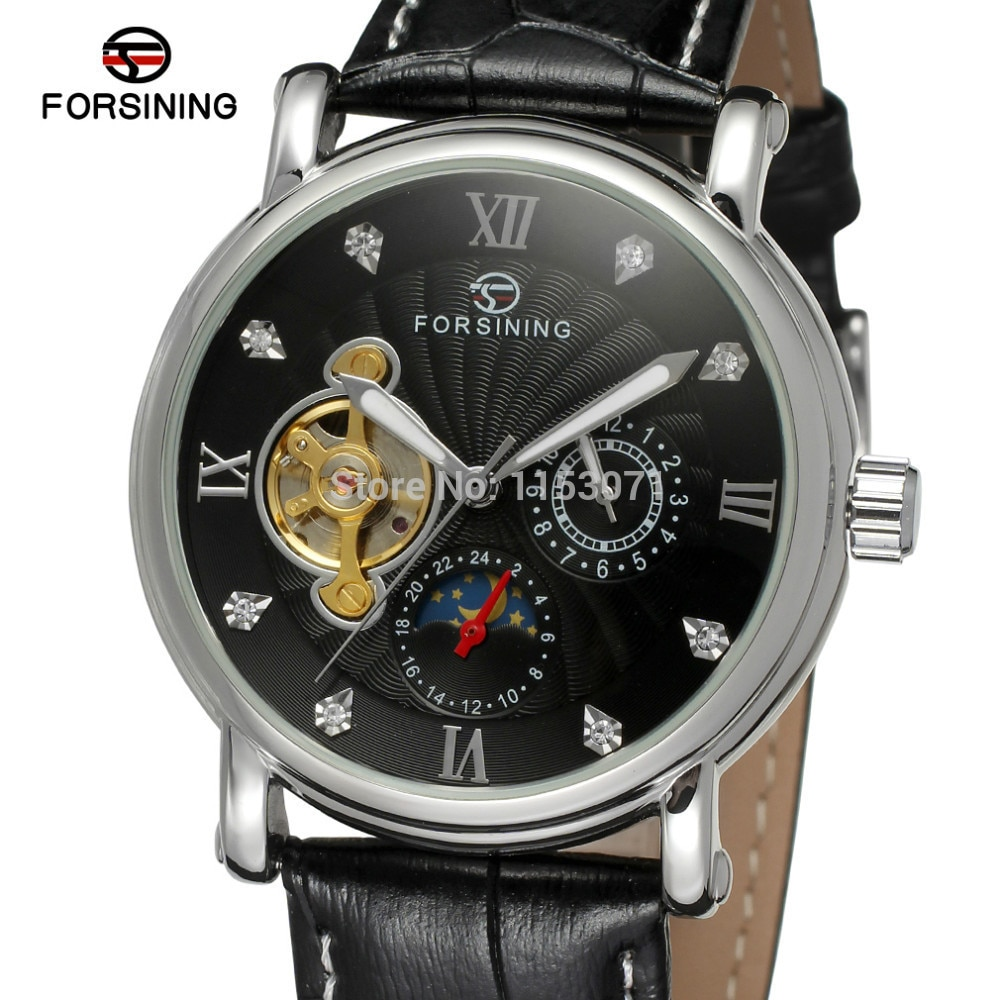 NEW ARRIVE! FORSINING FSG800M3S10 silver color case black dial with stones black genuine leather strap free shipping