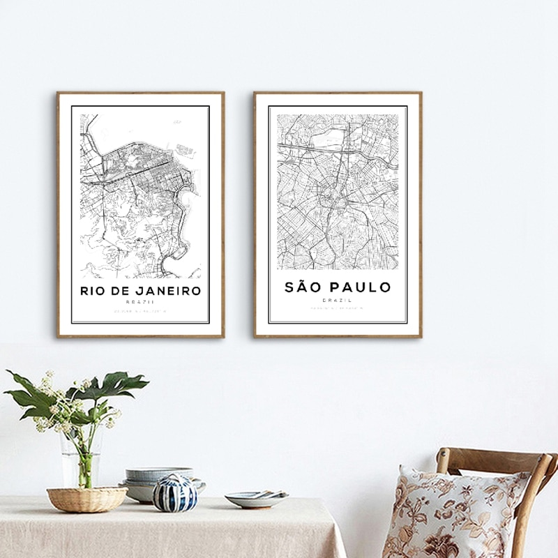 Brazil Sao Paulo Map Art Print Poster Wall Decor , Brazil Rio De Janeiro City Map Canvas Painting Wall Art Pictures Home Decor