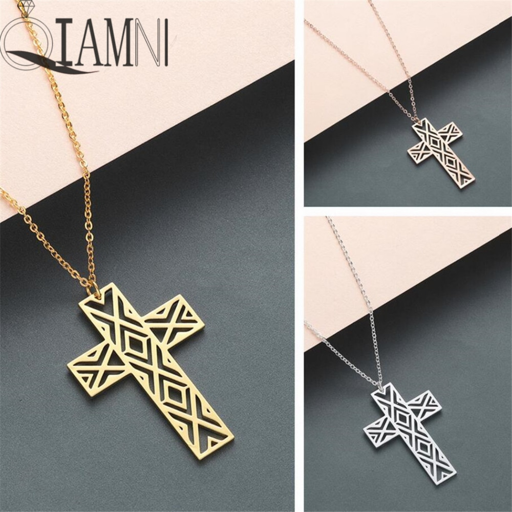 Qiamni na moda geométrico aberto cruz pingente colar de aço inoxidável jóias festa presente minimalista charme para mulher