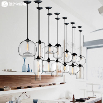 Restaurant Bar Single Head Creative Cafe Nordic minimalist Glass staircase chandelier lamp  - buy with discount