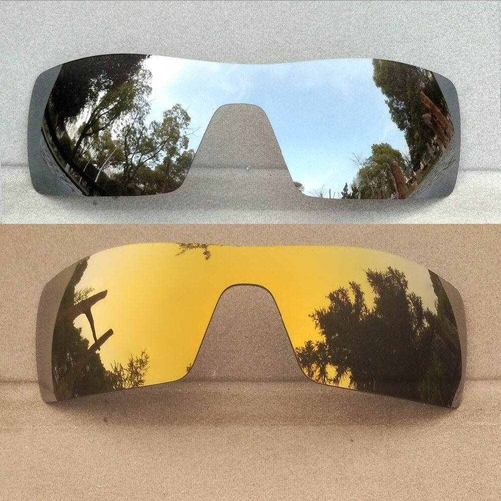 2 Pieces Silver Mirrored & Bronze Gold Mirrored Replacement Lenses for Oil Rig Frame Polarized 100%