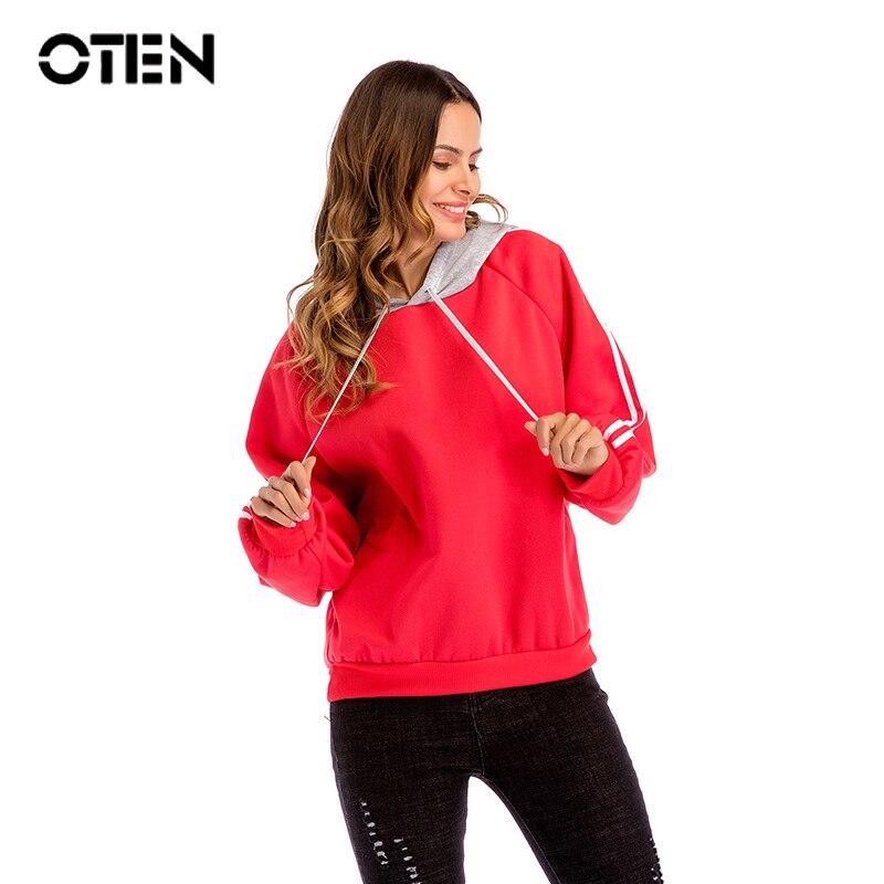 Otoño OTEN ropa de mujer 2019 de manga larga a rayas Casual de talla grande 3XL pullover Hoodies Tops negro rojo verde blanco sudadera
