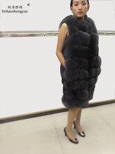 Linhaoshengyue 90 cm lunghi reale naturale pelliccia di volpe della maglia blu verde nero e grigio reale della pelliccia di volpe cappotto di pelliccia delle donne cappotti di pelliccia naturale