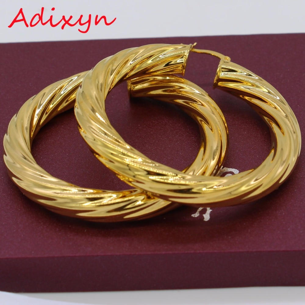 Adixyn 5.3CM African Big Hoop Earrings for Women Gold Color & Brass Twisted Earring Arab/Ethiopian N01095