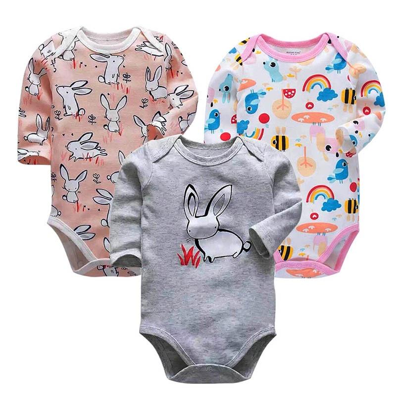 3 шт./лот, 100% хлопок, боди для новорожденных, хлопковое нижнее белье с длинными рукавами, Одежда для новорожденных мальчиков и девочек, комплекты для детей