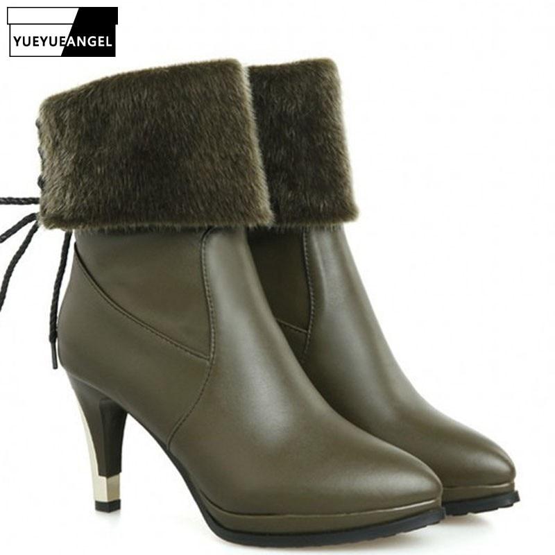 2019 New Fashion European Womens Pu Leather Shoes Pointed Toe Winter Platform Boots Warm Fur Trim Heigh Thin Heels Footwear