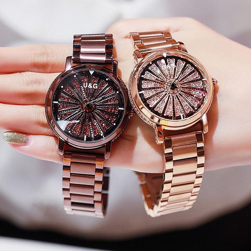 Top Luxury Brand Rotation Women Watches Lady Fashion Rhinestone Casual Quartz Watch Woman Stainless Steel WristWatch reloj mujer enlarge