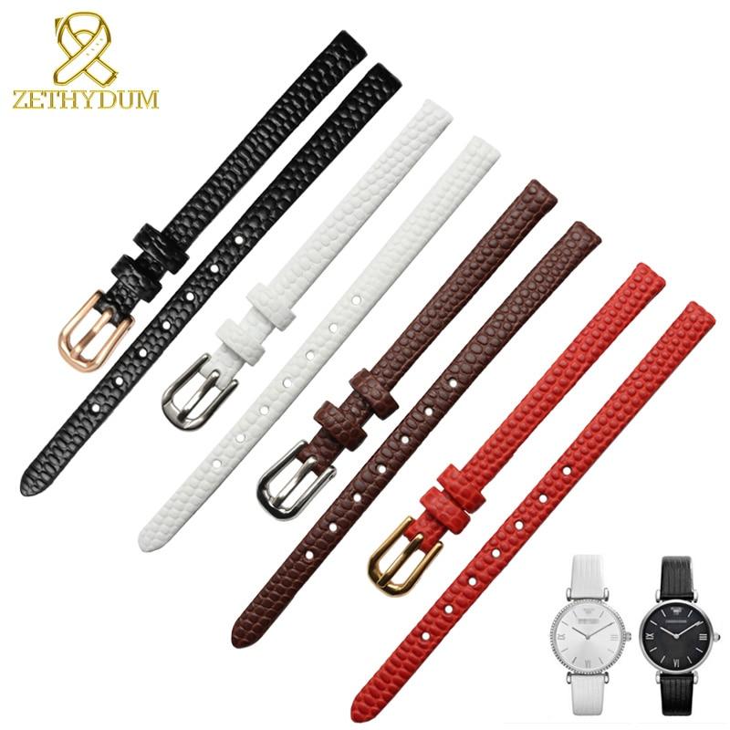 Ремешок для часов из натуральной кожи, женский браслет 6 8 10 12 мм, кожаный ремешок для часов, маленькие наручные часы с пряжкой