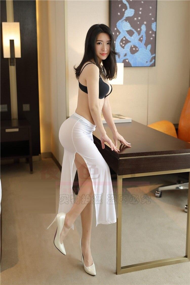 2019 mujeres señora Slim Sexy falda Ultra-Delgado transparente alto Split ver a través negro blanco novedad de verano