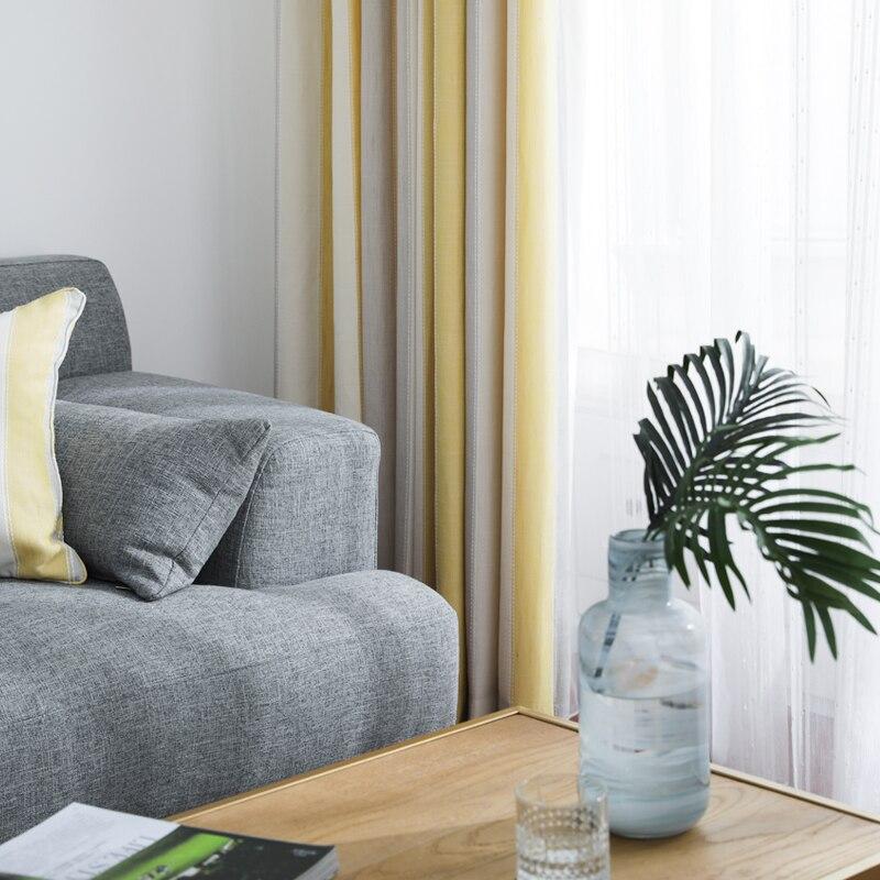 Cortinas con acabado personalizado, nórdica, amarilla, gris, blanca, cortina opaca para sala de estar, cortina de ventana moderna para dormitorio