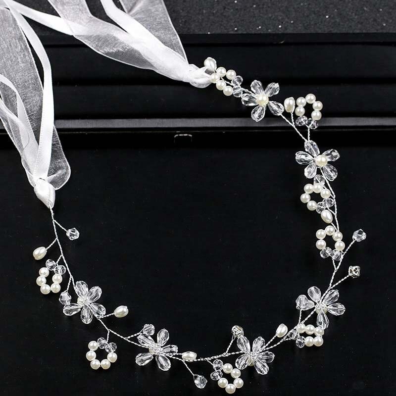 Accesorios para el cabello de boda para novia perlas de cristal perlas trenzadas diadema larga cinta de diadema Tiaras mujeres