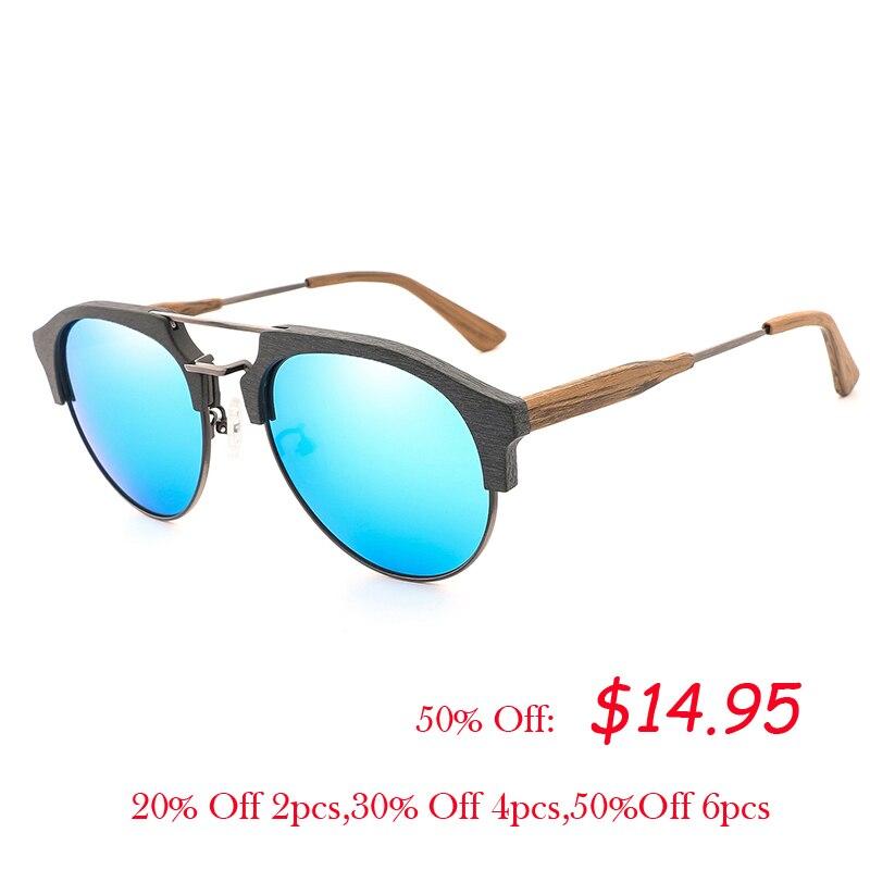 Classic Semi-rimless Wood Grain Sunglasses Men Women Polarized Sun glasses UV400 Handmade