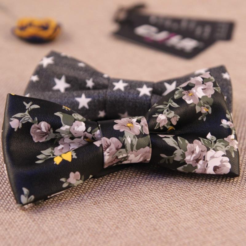 24colors mens pu leather print bow tie Korean fashion designer high quality for men wedding party bowties 5pcs/lot