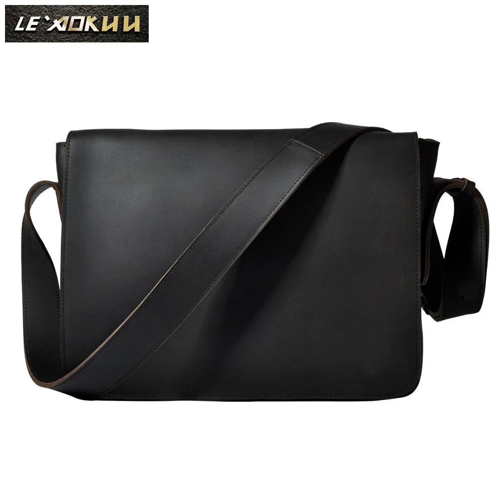 Crazy Horse Leather Male Design Casual College Shoulder Messenger Crossbody bag Fashion Laptop Satch