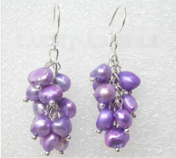 Envío Gratis> pendientes colgantes de perlas moradas barrocas de uva 925ss gancho j7452