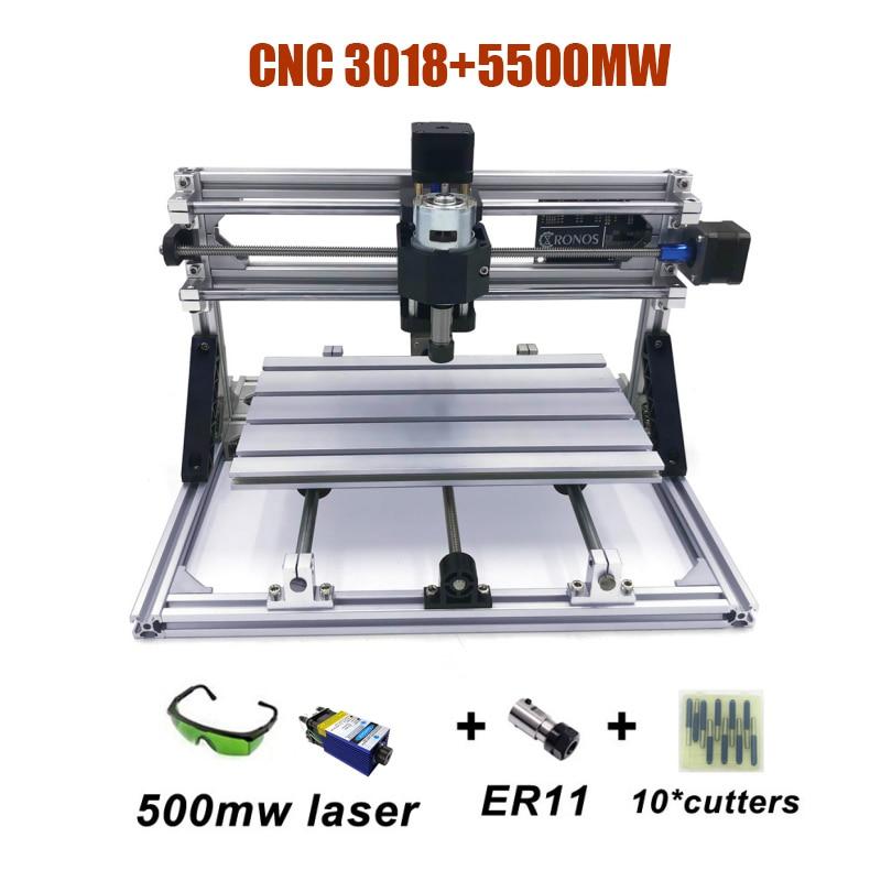 Láser azul de mejor calidad nuevo DIY CNC3018 PRO con GRBL Software mini grabador láser 500MW/2500MW/5500MW/15W láseres