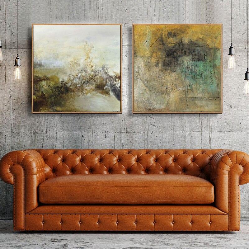 HD Druck Gelb Grau Abstrakte ölgemälde auf Leinwand Skandinavischen Kunst Poster Wand Bild für Wohnzimmer Sofa Dekoration