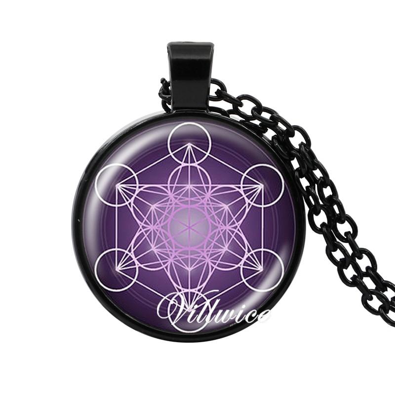 Collar de cubo Metatron flor geométrica sagrada de la vida joyería Chakra collar espiritual mujeres hombres magia hexagrama gargantilla