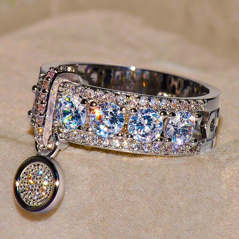 Luxury Female White Bridal Wedding Ring Set Fashion Silver Filled Jewelry Promise CZ Stone Engagement Rings For Women