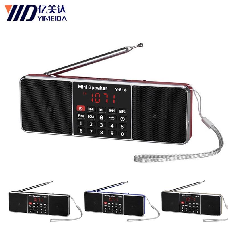 Y-618 Mini FM Radio dab radyo altavoz USB recargable reproductor de música compatible con tarjeta TF/SD con pantalla LED